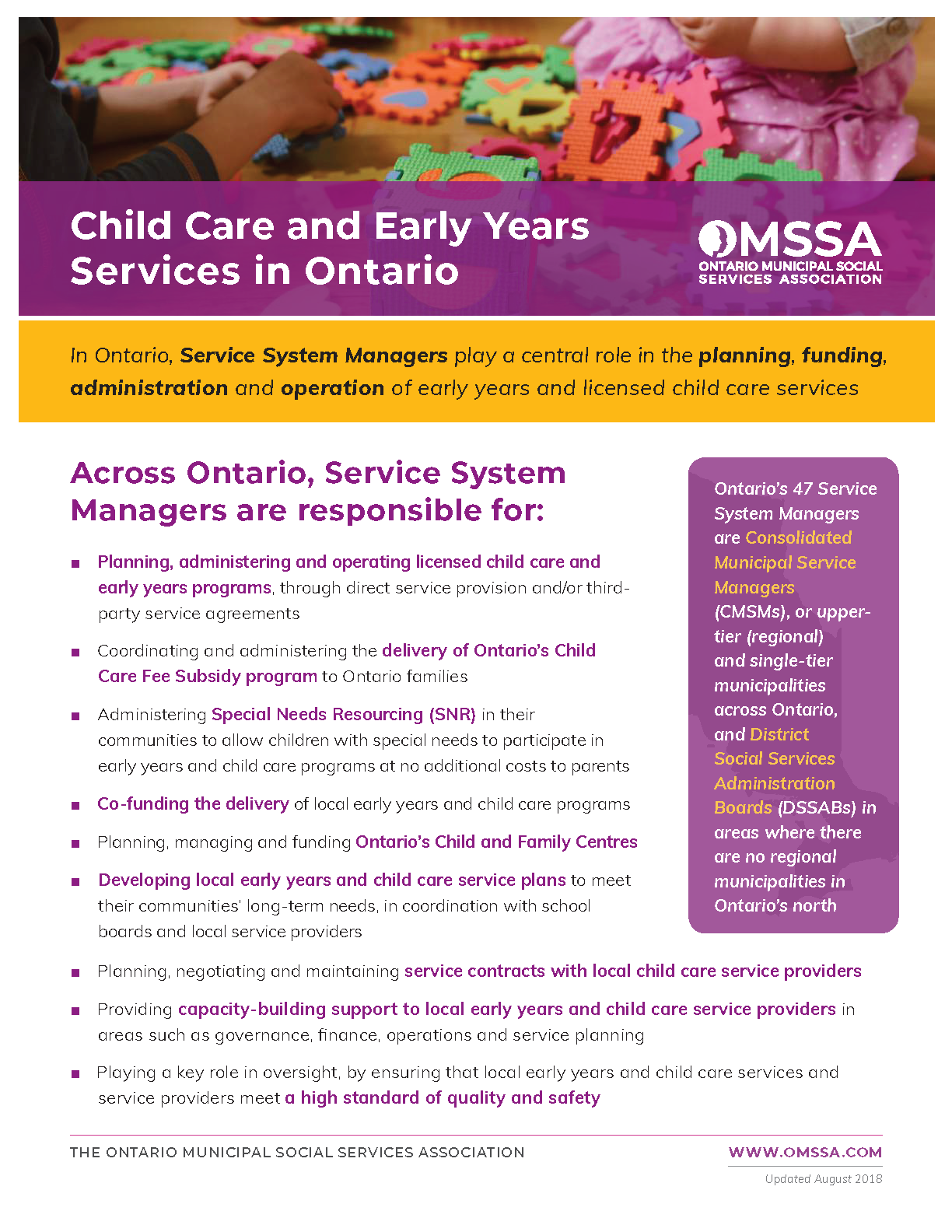 Child Care and Early Years Services in Ontario